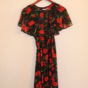 Kimchi Blue Black Floral Ruffled Midi Wrap Dress